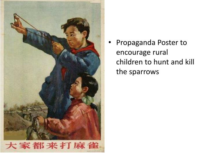 Propaganda Poster to encourage rural children to hunt and kill the sparrows