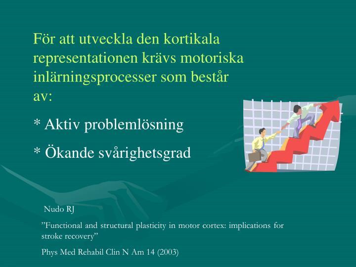 För att utveckla den kortikala representationen krävs motoriska inlärningsprocesser som består av: