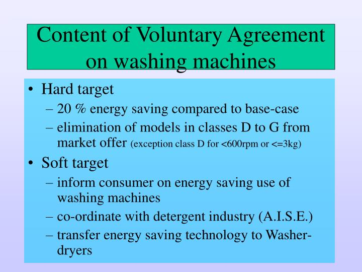 Content of voluntary agreement on washing machines