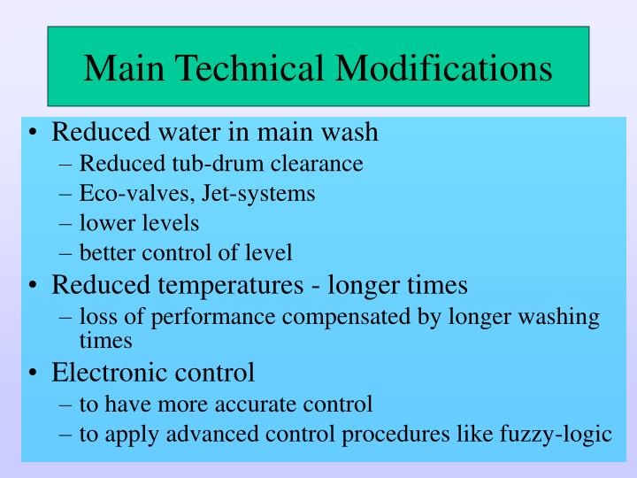 Main Technical Modifications