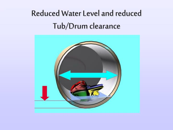 Reduced Water Level and reduced Tub/Drum clearance