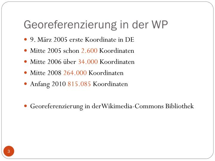 Georeferenzierung in der WP
