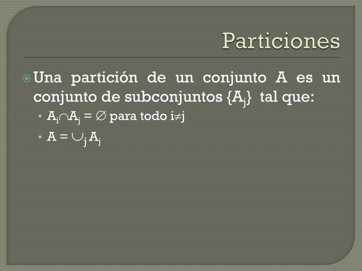 Particiones