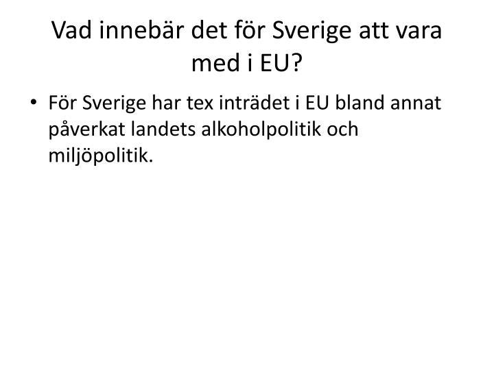 Vad innebär det för Sverige att vara med i EU?