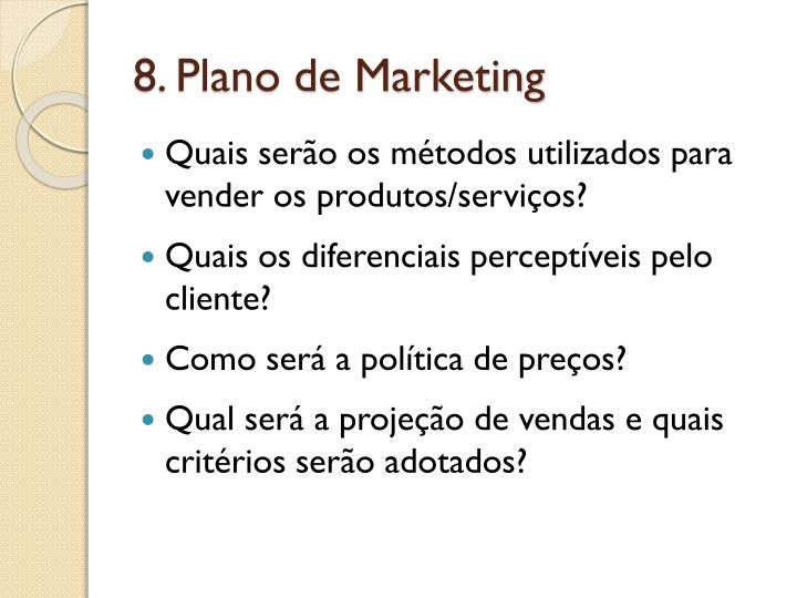 8. Plano de Marketing