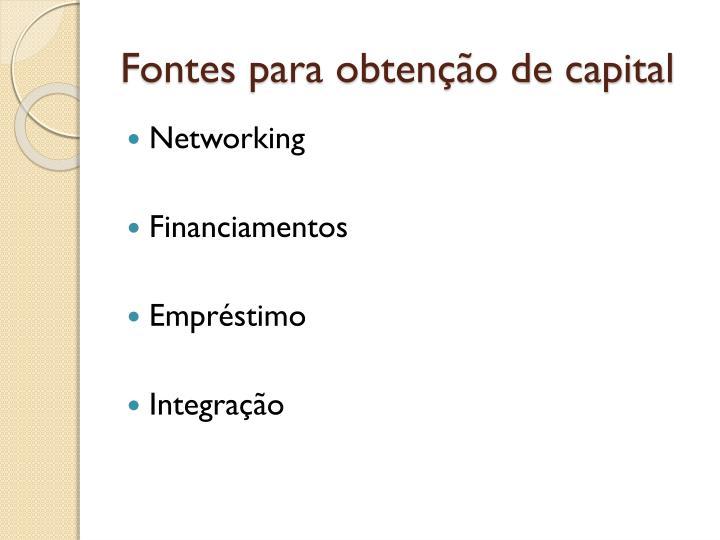 Fontes para obtenção de capital