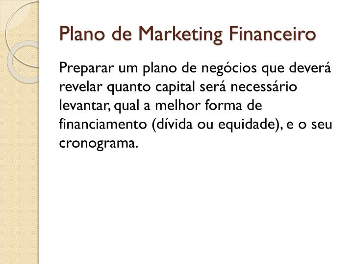 Plano de Marketing Financeiro