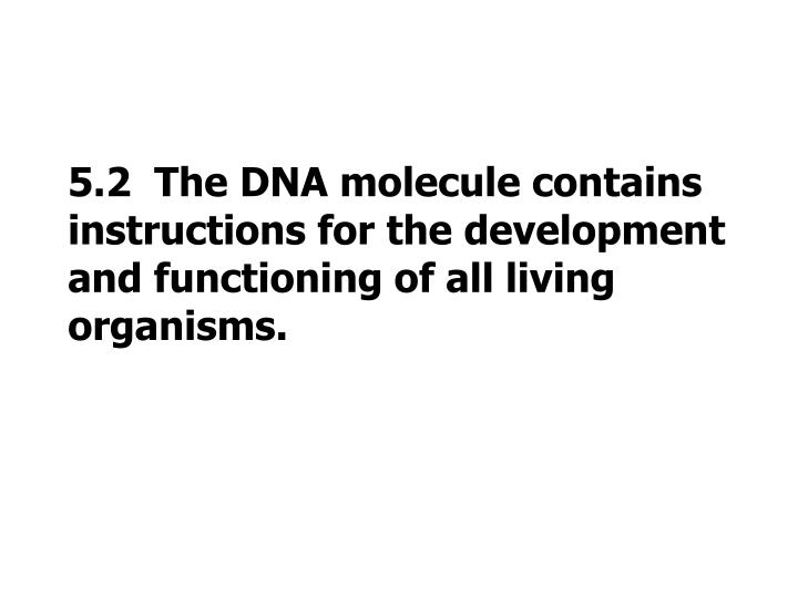 5.2  The DNA molecule contains instructions for the development and functioning of all living organisms.
