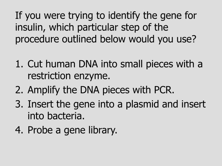 If you were trying to identify the gene for insulin, which particular step of the procedure outlined below would you use?
