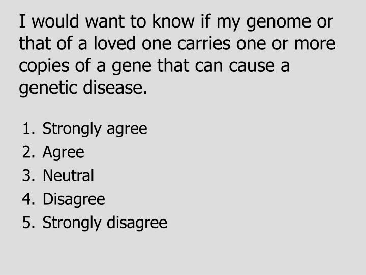 I would want to know if my genome or that of a loved one carries one or more copies of a gene that can cause a genetic disease.