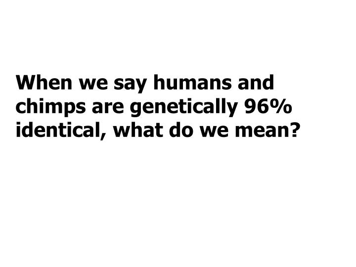 When we say humans and chimps are genetically 96% identical, what do we mean?
