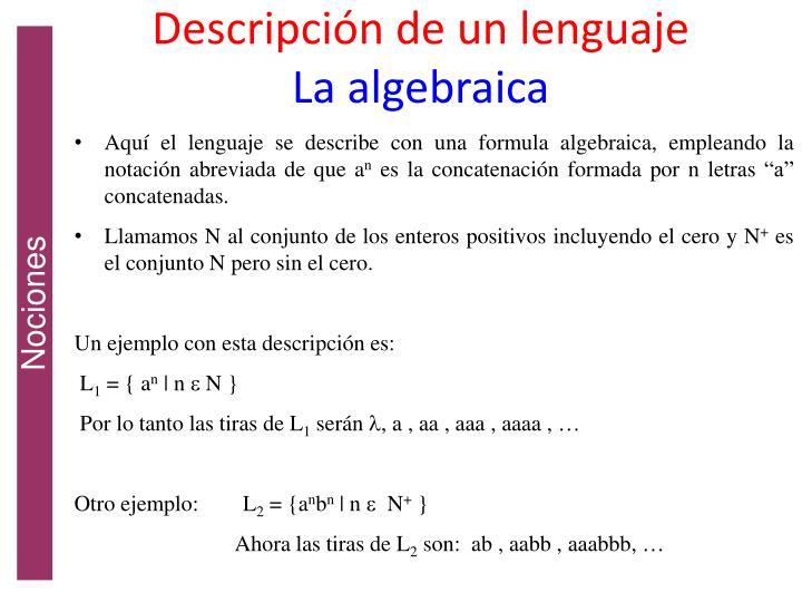Descripción de un lenguaje
