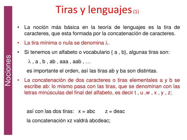 Tiras y lenguajes