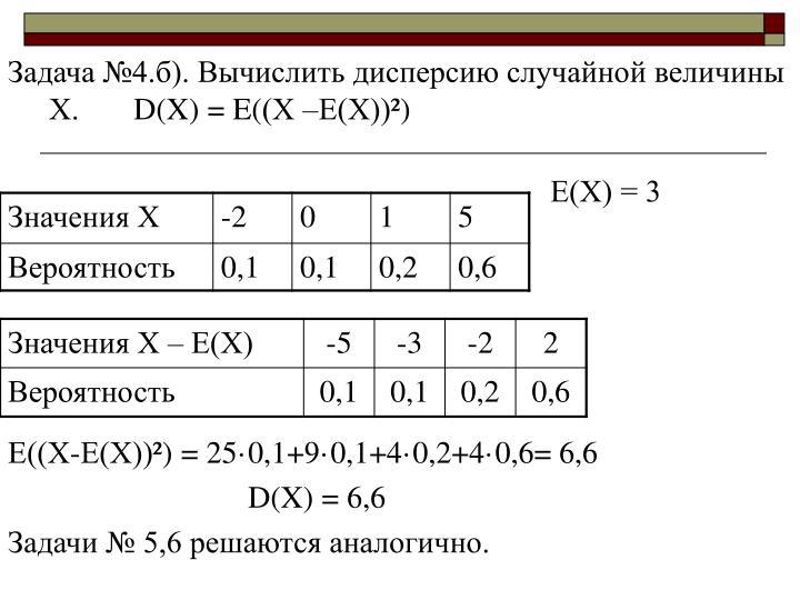 Задача №4.б). Вычислить дисперсию случайной величины Х.