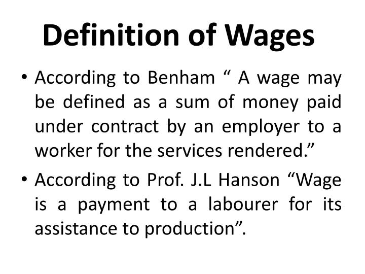 Definition of Wages