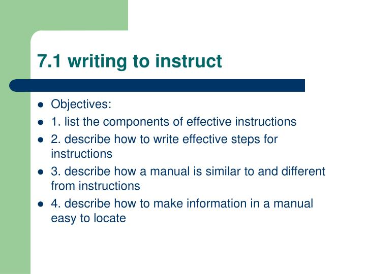 7.1 writing to instruct