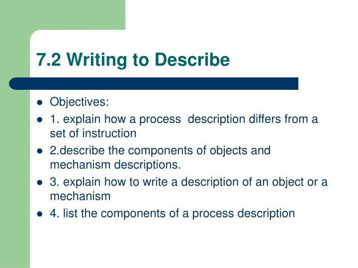 7.2 Writing to Describe