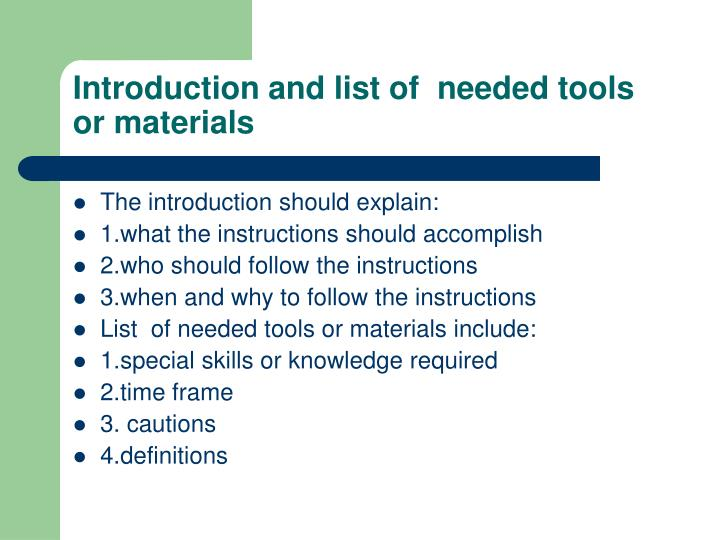 Introduction and list of  needed tools or materials