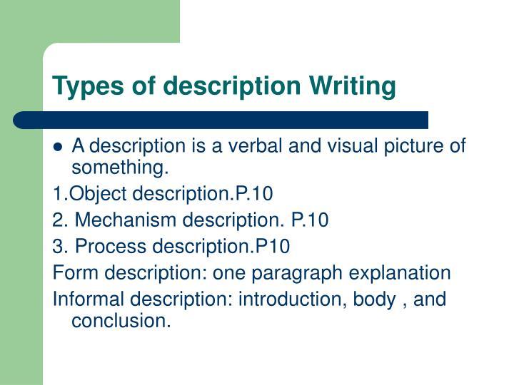 Types of description Writing