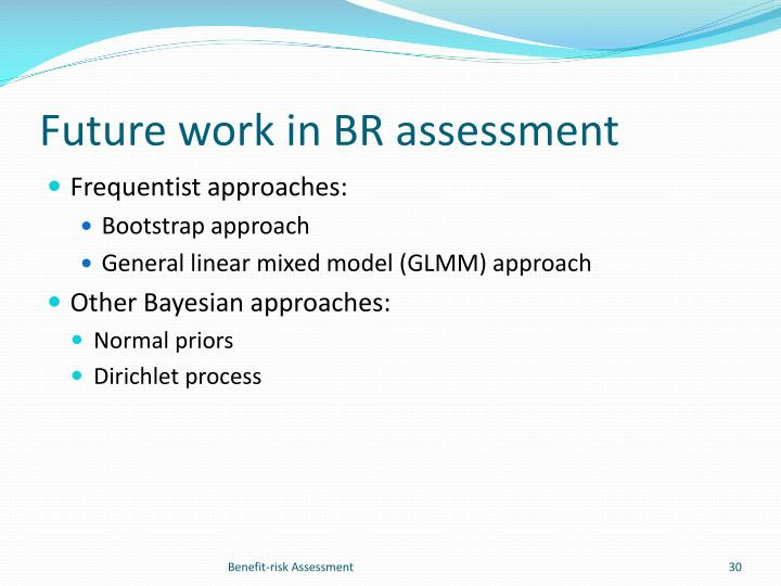 Future work in BR assessment