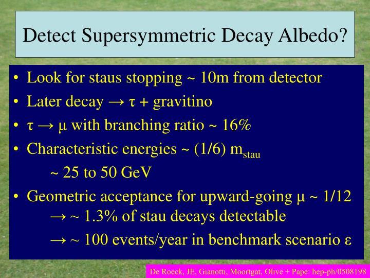 Detect Supersymmetric Decay Albedo