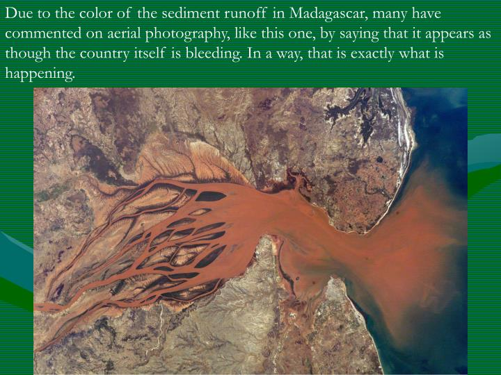 Due to the color of the sediment runoff in Madagascar, many have commented on aerial photography, like this one, by saying that it appears as though the country itself is bleeding. In a way, that is exactly what is happening.