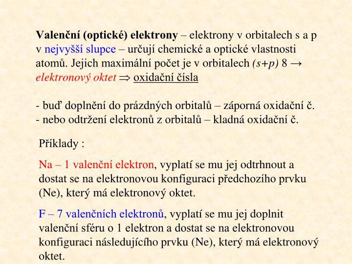 Valenční (optické) elektrony