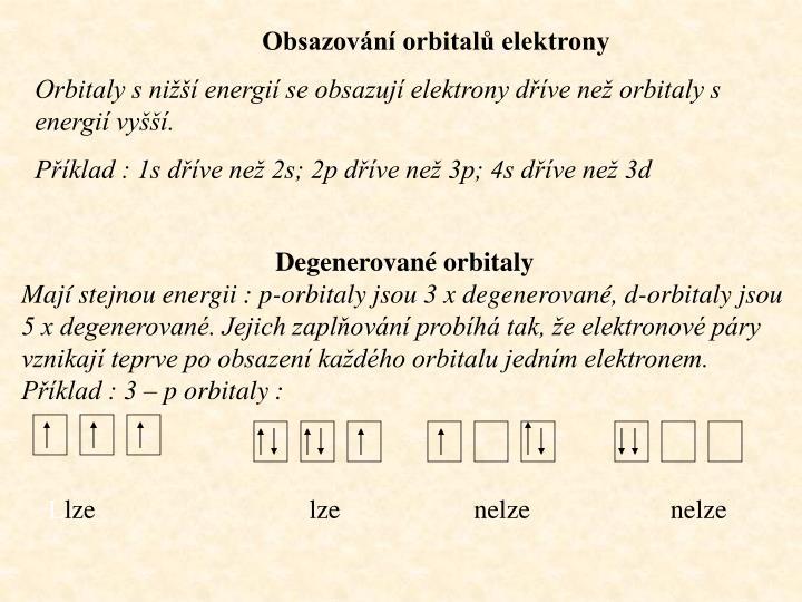 Obsazování orbitalů elektrony