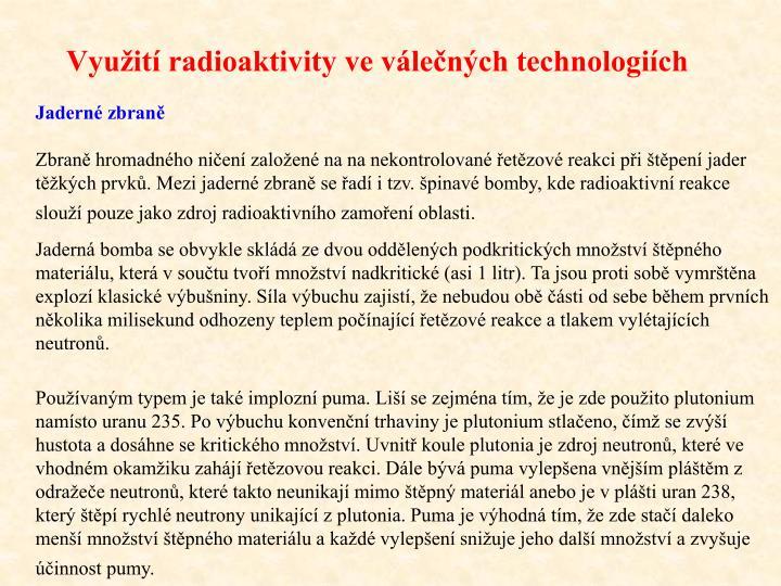 Využití radioaktivity ve válečných technologiích