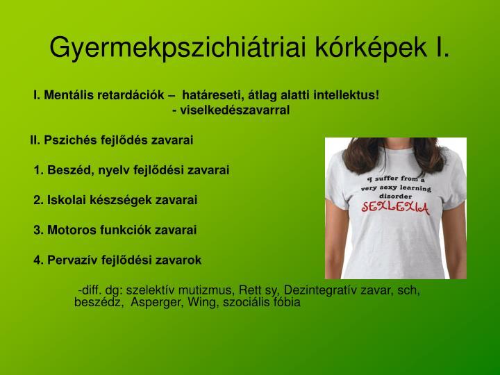 Gyermekpszichiátriai kórképek I.