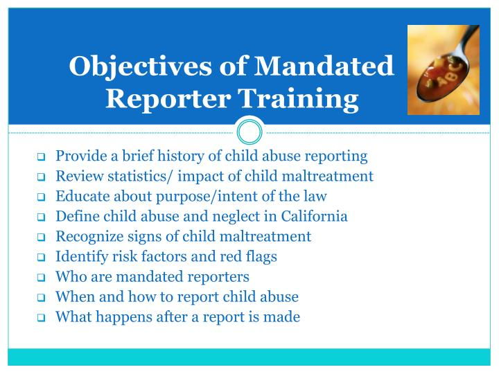 Objectives of mandated reporter training