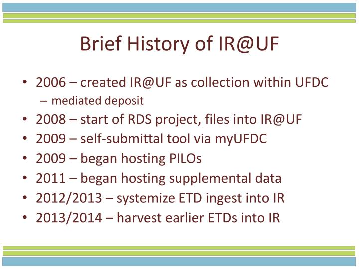 Brief History of IR@UF