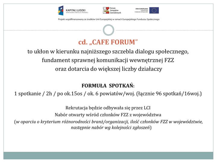 "cd. ""CAFE FORUM"