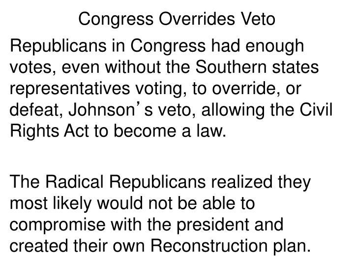 Congress Overrides Veto