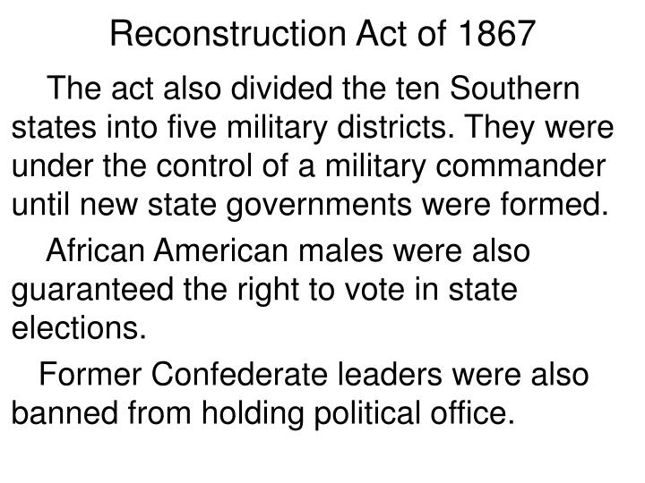 Reconstruction Act of 1867