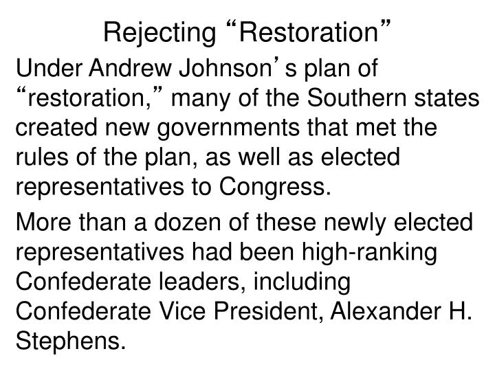 Rejecting restoration