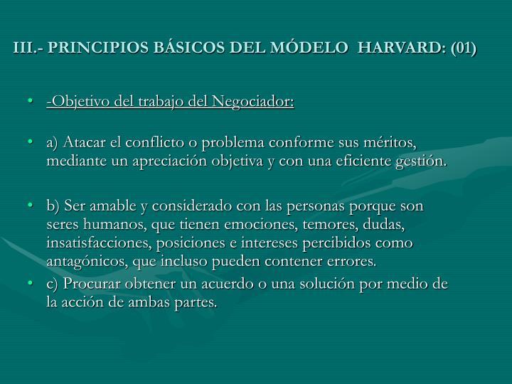 III.- PRINCIPIOS BÁSICOS DEL MÓDELO  HARVARD: (01)