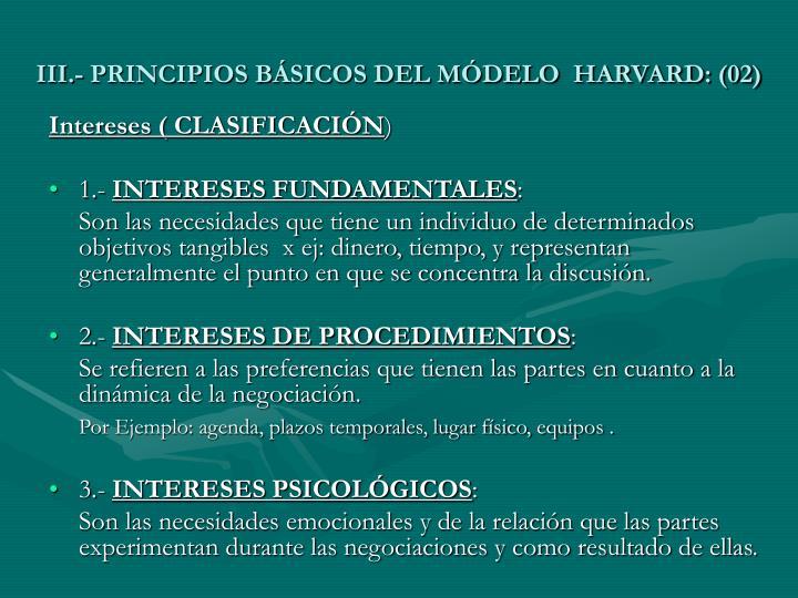 III.- PRINCIPIOS BÁSICOS DEL MÓDELO  HARVARD: (02)