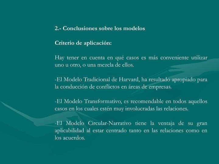 2.- Conclusiones sobre los modelos