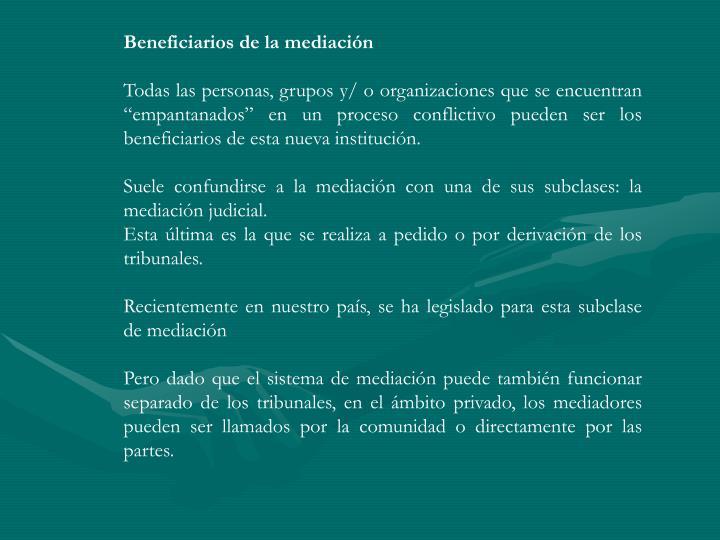 Beneficiarios de la mediación