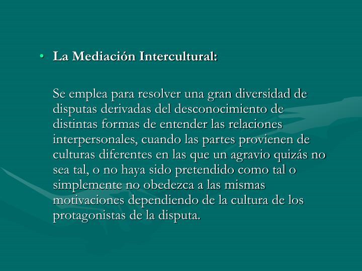 La Mediación Intercultural: