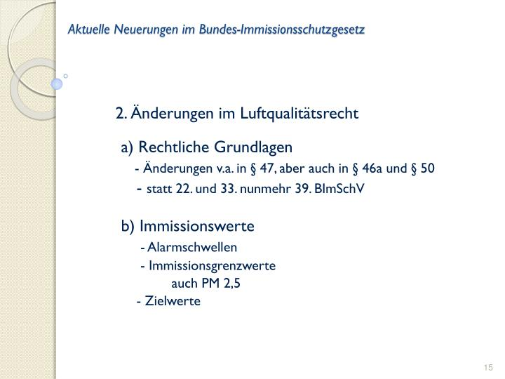 Aktuelle Neuerungen im Bundes-Immissionsschutzgesetz
