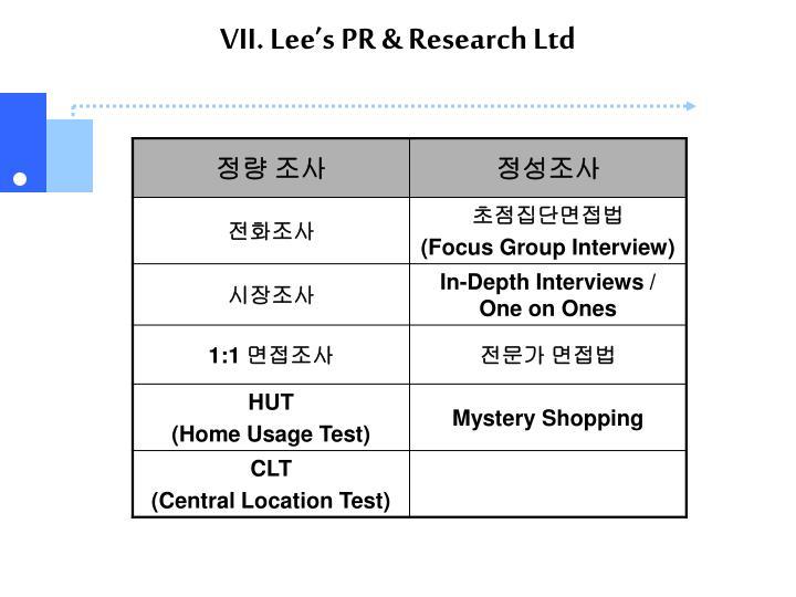 VII. Lee's PR & Research Ltd