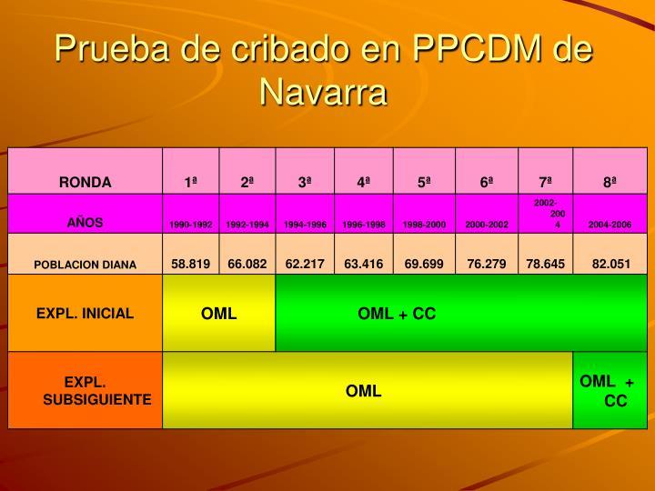 Prueba de cribado en PPCDM de Navarra