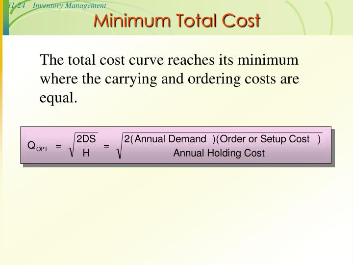 Minimum Total Cost