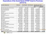 expenditure of the social sector epwp grant to provinces 2012 13