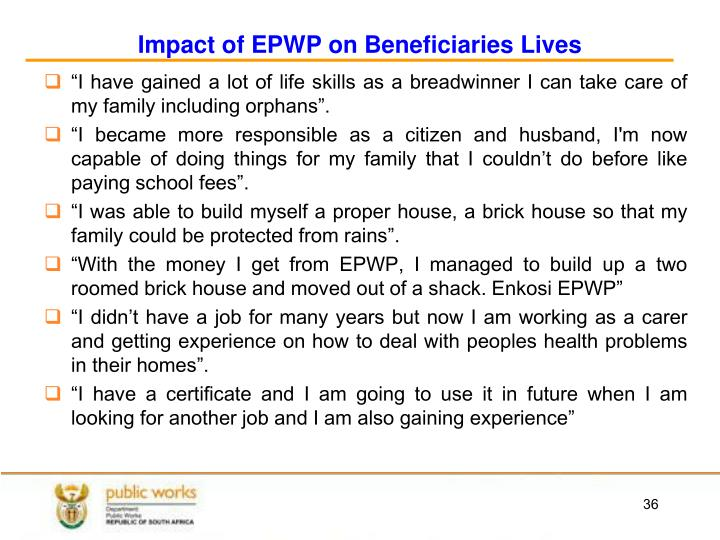 Impact of EPWP on Beneficiaries Lives