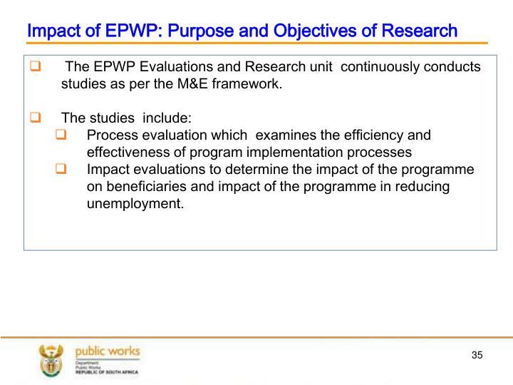 Impact of EPWP: