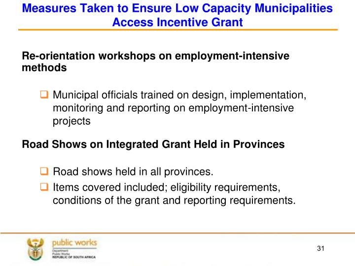 Measures Taken to Ensure Low Capacity Municipalities Access Incentive Grant