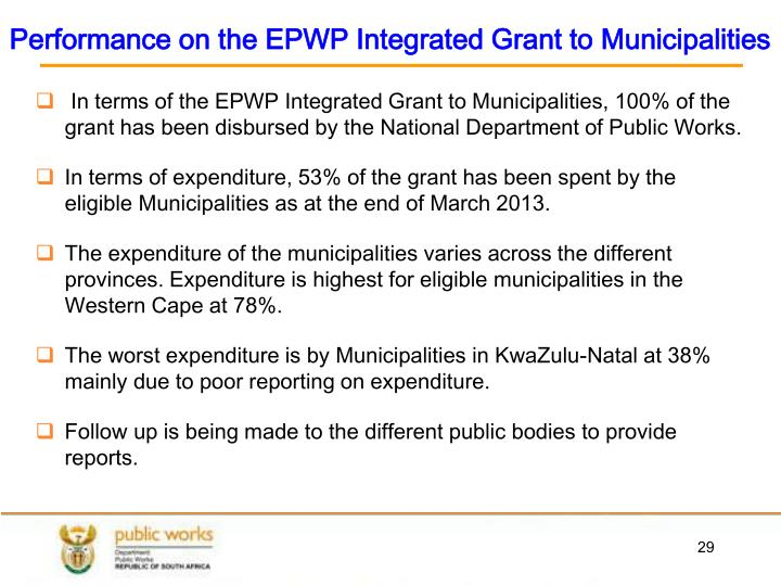 Performance on the EPWP Integrated Grant to Municipalities
